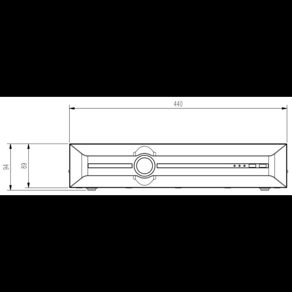Tiandy TC-R3840 Spec- I B N H.265 8HDD 40ch NVR-Front View Dimensions