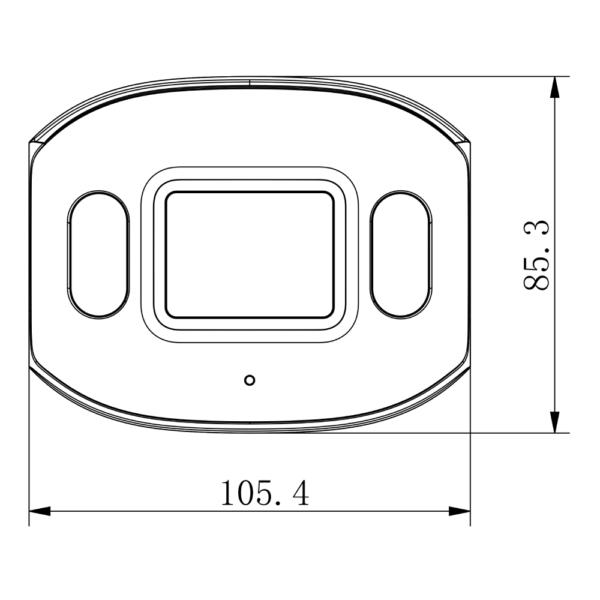 TC-C32DP Spec W E Y 4mm Tiandy 2MP Fixed Color Maker Bullet Camera – Dimensions Front View