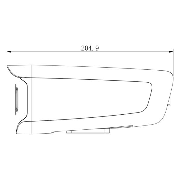 TC-C32DP Spec W E Y 4mm Tiandy 2MP Fixed Color Maker Bullet Camera – Dimensions Side View