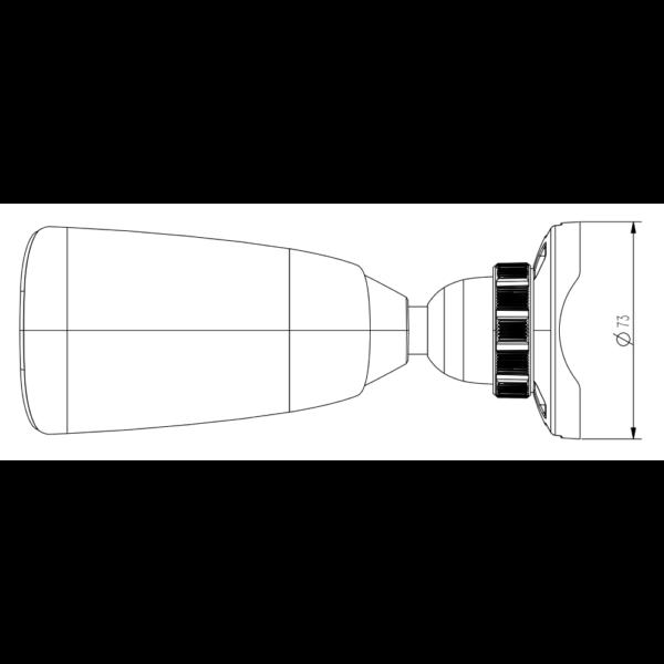 TC-C32JS Spec I5 E 2.8mm Tiandy 2MP Starlight IR Bullet CCTV Camera – Dimensions Top View