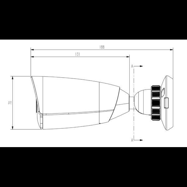 TC-C32JS Spec I5 E 4mm Tiandy 2MP Starlight IR Bullet CCTV Camera – Dimensions