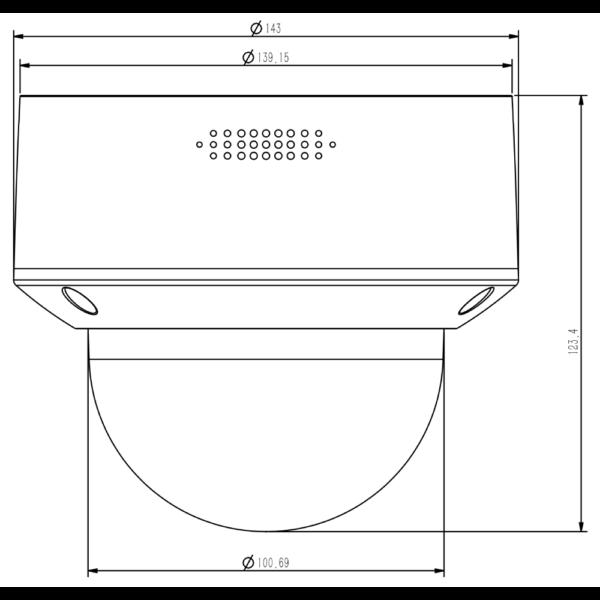 TC-C32MN Spec I3 A E Y M 2.8-12mm Tiandy 2MP Motorized IR Dome Camera – Dimensions