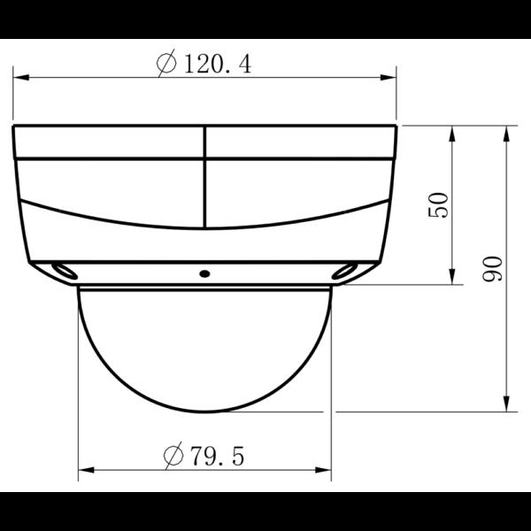 TC-C33KN Spec I3 E Y 2.8mm Tiandy 3MP Fixed Lens IR Dome Camera – Dimensions