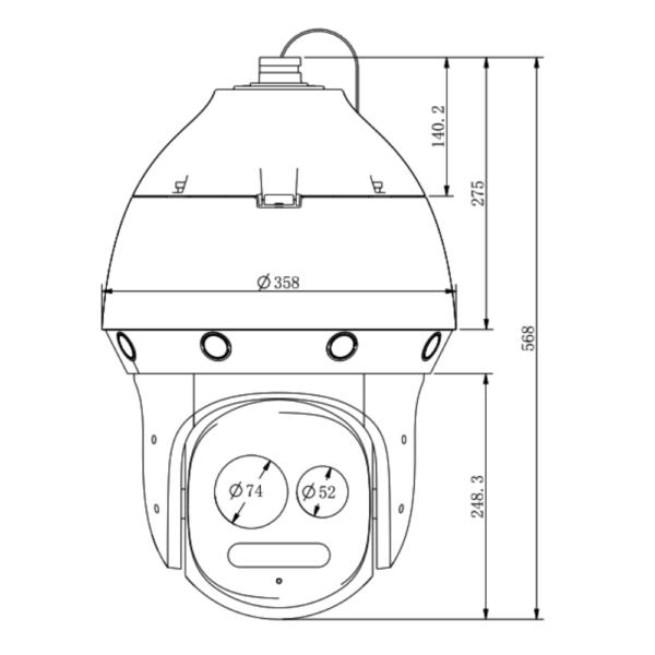 Tiandy TC-H3169M Spec-44X-LW-P-A – Front Dimension