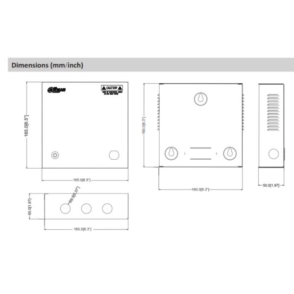 Dahua DH-PFM340-5CH – Dimensions