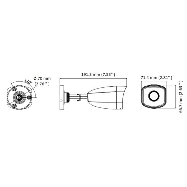 HiLook IPC-B140H-M 2.8mm Dimensions