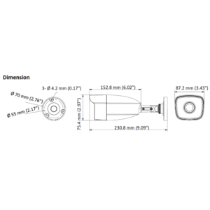THC-B240-M HiLook 4MP EXIR Analog Bullet Camera - Dimension